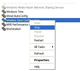 Turning off the wireless zero configuration service in Windows XP