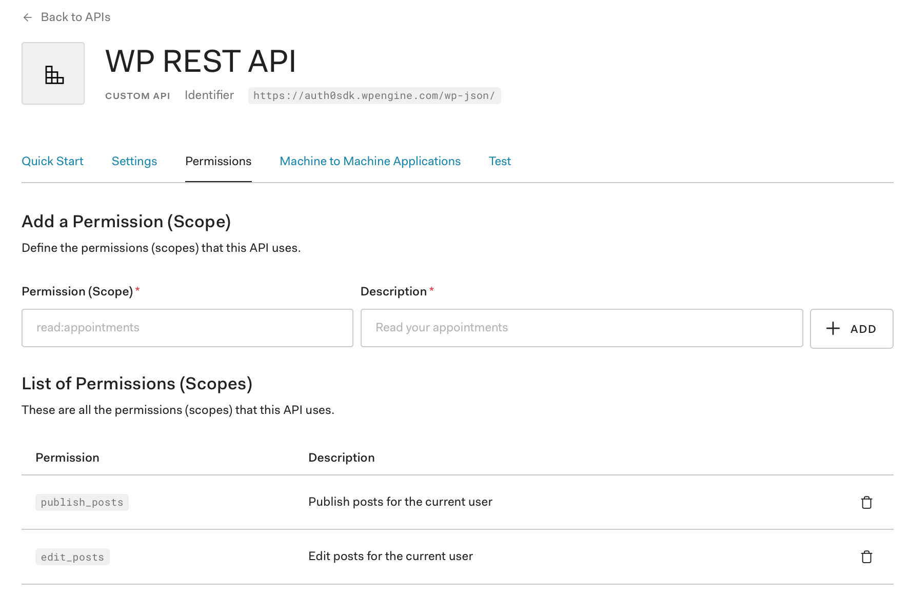 WP REST API setup in Auth0